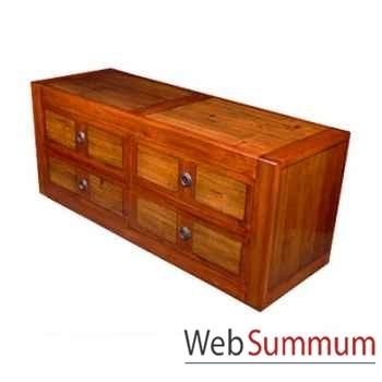 Commode basse avec 4 tiroirs en bois ciré Meuble d'Indonésie -56773CI
