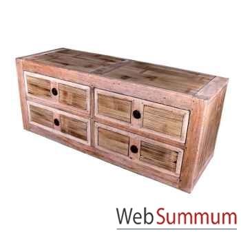 Commode basse avec 4 tiroirs en bois naturel vieilli Meuble d'Indonésie -56773NV