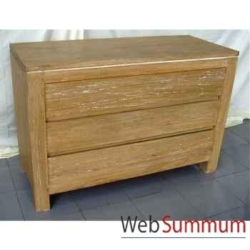 Commode 3 tiroirs bois naturel Meuble d'Indonésie -57053