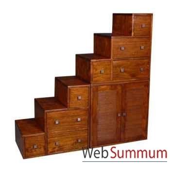 Meuble escalier avec casiers et portes strié Meuble d'Indonésie -53970