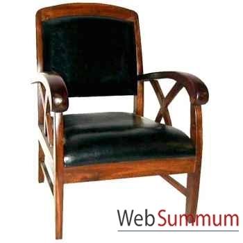 Fauteuil cross avec assise en cuir noir Meuble d'Indonésie -56411
