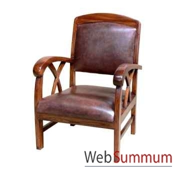 Fauteuil cross avec assise en cuir buffalo Meuble d'Indonésie -56416