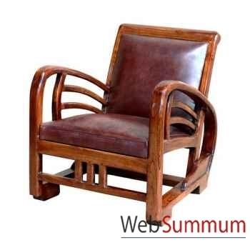 Fauteuil bali avec assise en cuir buffalo, très confortable Meuble d'Indonésie -56450
