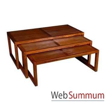 Table basse strié de salon, set de 3 Meuble d'Indonésie -53984