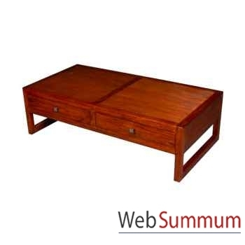 Table basse de salon avec 2 tiroirs strié Meuble d'Indonésie -53994