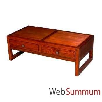 Table basse de salon avec 2 tiroirs strié Meuble d'Indonésie -53995