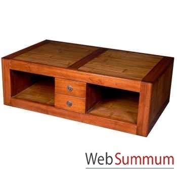 Table basse 4 tiroirs en bois ciré Meuble d'Indonésie -56777CI