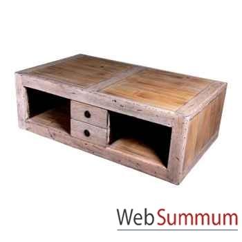 Table basse 4 tiroirs en bois naturel vieilli Meuble d'Indonésie -56777NV