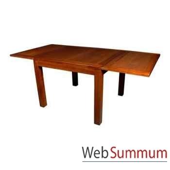 Table carrée avec 2 rallonge strié Meuble d'Indonésie -53982