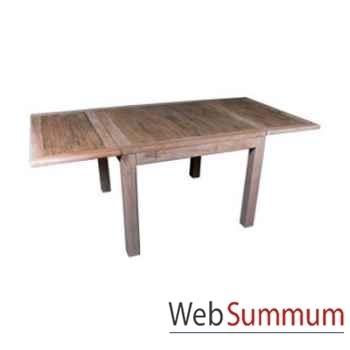 Table carrée 2 rallonge en bois naturel vieilli Meuble d'Indonésie -56787NV