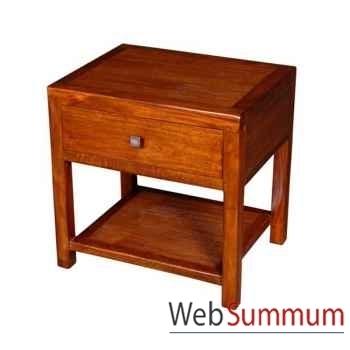 Table de chevet 1 tiroir avec 1 niche strié Meuble d'Indonésie -53946