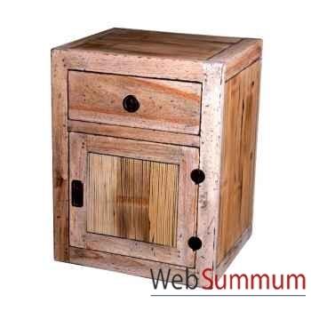 Table de chevet 1 porte 1 tiroir en bois naturel vieilli Meuble d'Indonésie -56770NV