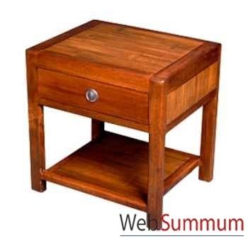 Table de chevet 1 tiroir avec 1 niche en bois ciré Meuble d'Indonésie -56771CI