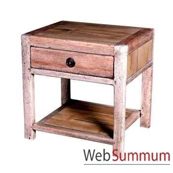 Table de chevet 1 tiroir avec 1 niche en bois naturel vieilli Meuble d'Indonésie -56771NV
