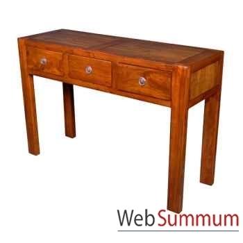 Console avec 3 tiroirs en bois ciré Meuble d'Indonésie -56774CI