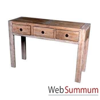 Console avec 3 tiroirs en bois naturel vieilli Meuble d'Indonésie -56774NV