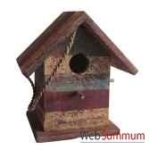 maison pour oiseau polychrome en bois artisanat indonesien 13740