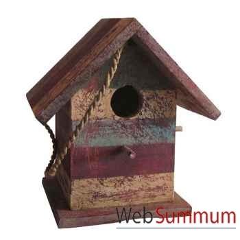 Maison pour oiseau polychrome en bois artisanat Indonésien -13740