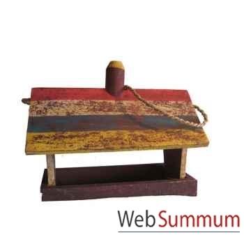 Maison et abreuvoir polychrome pour oiseau artisanat Indonésien -13741