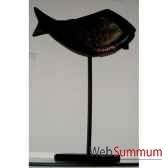 poisson bois noir cuivre sur socle artisanat indonesien 13754