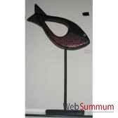 poisson en bois avec trou centracouleur noir cuivre monter sur socle artisanat indonesien 13755