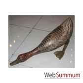 canard stylise tete basse vieilli avec un gouge artisanat indonesien 13757