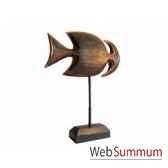 poisson arete en bois vieilli sur socle artisanat indonesien 13760