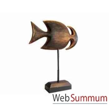 Poisson arête en bois vieilli sur socle artisanat Indonésien -13760