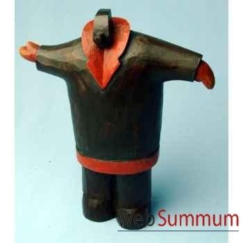 Sulpture déco, homme bras écartés bois polychrome artisanat Indonésien -13766