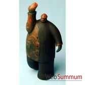 objet de decoration homme bras leves bois polychrome artisanat indonesien 13767