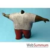 objet de decoration homme gros bras ecartes bois polychrome artisanat indonesien 13769
