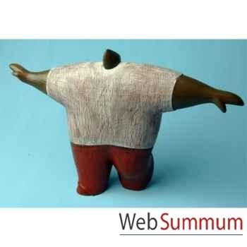Objet de décoration, homme gros bras écartés bois polychrome artisanat Indonésien -13769