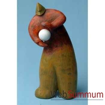 Objet de décoration, homme bois polychrome avec une balle blanche artisanat Indonésien -13771
