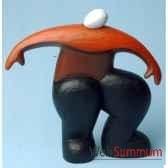 objet de decoration homme en bois polychrome accroupi artisanat indonesien 13773