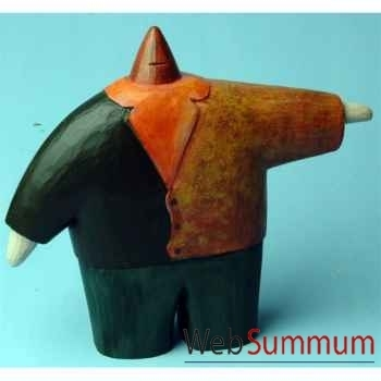 Objet de décoration, homme en bois polychrome avec les bras écartés artisanat Indonésien -13774