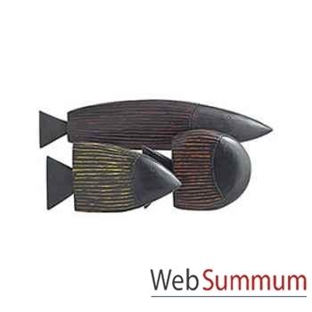 Set de 3 poissons stylisé artisanat Indonésien -13807