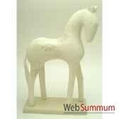 sculpture de chevaen bois blanc impression fleurs artisanat indonesien 13820