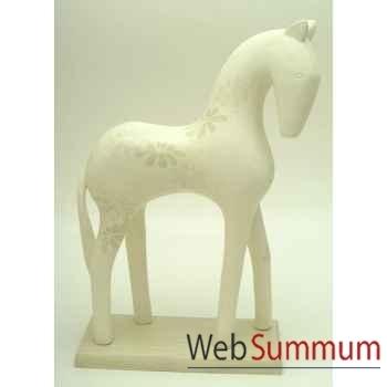 Sculpture de cheval en bois blanc impression fleurs artisanat Indonésien -13820