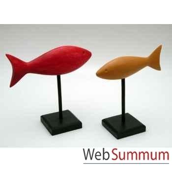 Set de 2 poissons bois polychrome sur socle artisanat Indonésien -13844