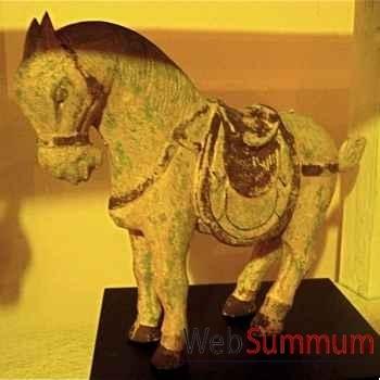 Sculpture cheval polychrome sur socle artisanat Indonésien -26998
