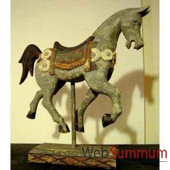 Sulpture cheval sur stick gris polychrome sur socle. artisanat Indonésien -27001