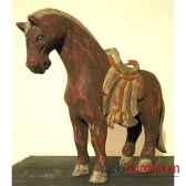 sulpture chevaen bois couleur rouge antique artisanat indonesien 27041