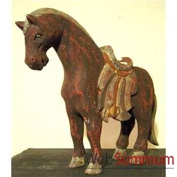 Sulpture cheval en bois couleur rouge antique artisanat Indonésien -27041