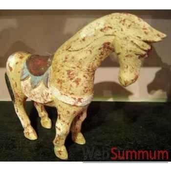 Sulpture cheval ocre polychrome artisanat Indonésien -27057