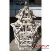 cage pagode blanche artisanat indonesien 32276bl