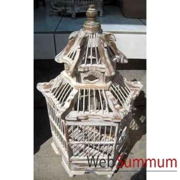 Cage pagode blanche artisanat Indonésien -32276bl