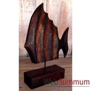 Décoration poisson bois patiné artisanat Indonésien -32287