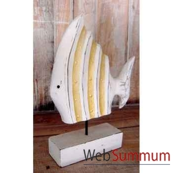 Décoration poisson blanc et doré artisanat Indonésien -32288