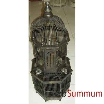 Cage cathédrale noire pour oiseau artisanat Indonésien -32365n
