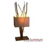 lampe rectangulaire avec bois flotte a interieur de abat jour artisanat indonesien 33189
